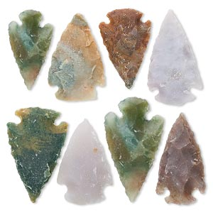 focal, fancy jasper (natural), 1- to 1-1/2 inch hand-knapped arrowhead, b- grade, mohs hardness 6-1/2 to 7. sold per pkg of 8.