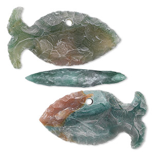 focal, fancy jasper (natural), 44x24mm-49x29mm hand-knapped flat fish, b grade, mohs hardness 6-1/2 to 7. sold per pkg of 3.