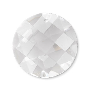 focal, glass, clear, 30mm checkerboard faceted disc. sold individually.
