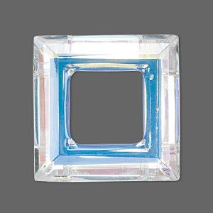 focal, glass, clear ab, 30x30mm faceted open square. sold individually.