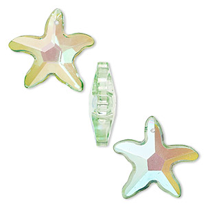 focal, glass, green ab, 31x31mm and 42x40mm faceted starfish. sold per pkg of 3.