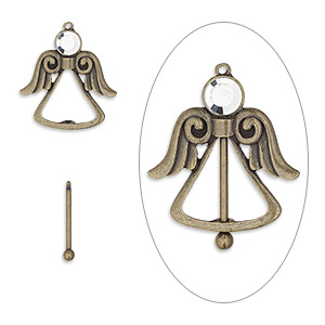 focal, glass rhinestone with antique brass-finished brass and pewter (zinc-based alloy), clear, 44.5x44.5mm single-sided angel with twist-off top, 24mm beadable length. sold individually.