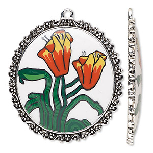 focal, glazed polymer clay and silver-finished pewter (zinc-based alloy), multicolored, 43x40mm single-sided oval with lily design and swirl with beaded edge. sold individually.