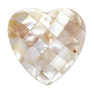 focal, gold lip shell / mother-of-pearl shell / resin (assembled), clear, 36x36mm-38x36mm double-sided heart. sold individually.