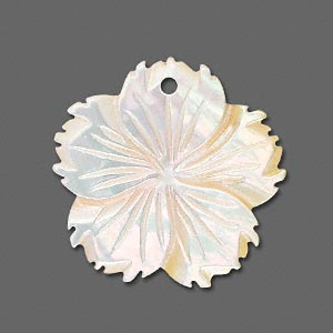 focal, gold lip shell (natural), 30x30mm flower, mohs hardness 3-1/2. sold individually.