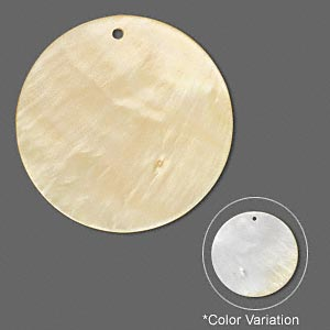 focal, gold lip shell (natural), 45mm round, mohs hardness 3-1/2. sold individually.