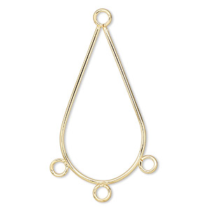 focal, gold-plated steel, 33x19mm smooth teardrop with 3 loops. sold per pkg of 10.
