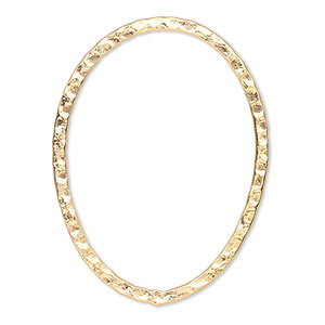 focal, gold-plated steel, 40x30mm double-sided hammered flat open oval. sold per pkg of 6.