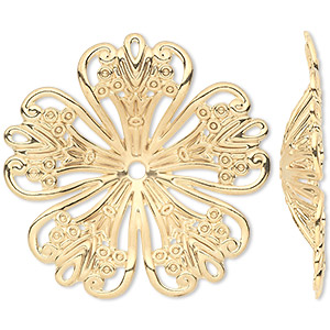 focal, gold-plated steel, 42x42mm single-sided concave fancy flower. sold per pkg of 6.