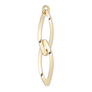 focal, gold-plated steel, 42x7mm double marquise. sold per pkg of 4.