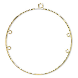 focal, gold-plated steel, 50mm round hoop with 4 loops. sold per pkg of 10.