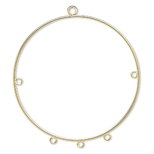 focal, gold-plated steel, 50mm round hoop with 5 loops. sold per pkg of 10. minimum 2 per order.