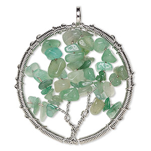 focal, green aventurine (natural) and silver-plated brass, 55x52mm round with wire-wrapped tree design. sold individually.