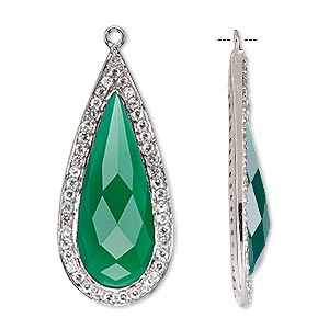 focal, green onyx (dyed) / white topaz (natural) / sterling silver, 35x16mm single-sided faceted teardrop. sold individually.