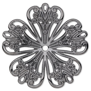 focal, gunmetal-plated steel, 42x42mm single-sided concave fancy flower with 2.5mm center hole. sold per pkg of 6.