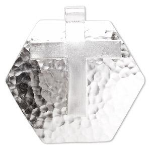 focal, hill tribes, fine silver, 46x45mm hammered hex cross. sold individually.