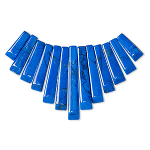 focal, howlite (dyed), lapis blue, 26x10mm-29x12mm graduated fan, b grade, mohs hardness 3 to 3-1/2. sold per 13-piece set.