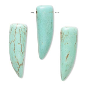 focal, howlite (imitation), aqua green, 30x10mm talon. sold per pkg of 3.