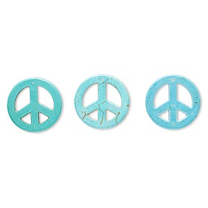 focal, howlite (imitation), blue and green, 45mm peace sign. sold per pkg of 3.