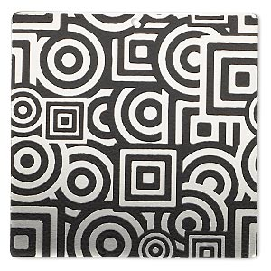 focal, imitation rhodium-finished carbon steel, black, 40x40mm single-sided square with geometric design. sold per pkg of 2.