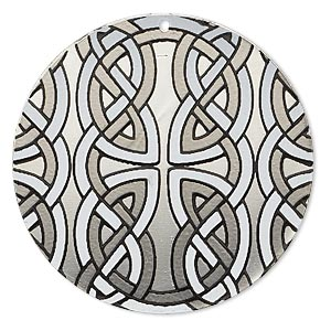 focal, imitation rhodium-finished carbon steel, black and white, 40mm single-sided round with celtic knot design. sold per pkg of 2.
