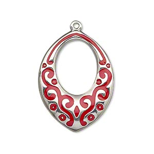 focal, imitation rhodium-finished pewter (zinc-based alloy) and enamel, red, 30x22mm single-sided marquise with oval cutout and scroll design. sold individually.
