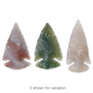 focal, jasper (natural), 35mm hand-knapped undrilled arrowhead, b- grade, mohs hardness 6-1/2 to 7. sold individually.