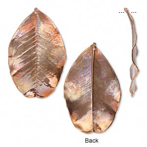 focal, jbb findings, copper, 55x38mm-65x46mm holy land carob leaf. sold individually.