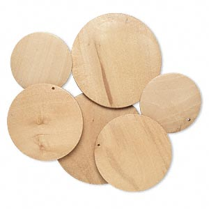 focal, korean boxwood (natural), brown, 40-60mm top-drilled round. sold per pkg of 3 pairs.