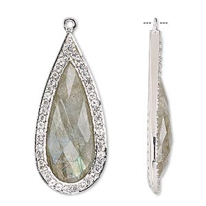 focal, labradorite / white topaz (natural) / sterling silver, 35x16mm single-sided faceted teardrop. sold individually.