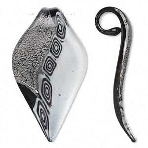 focal, lampworked glass, black and white with silver-colored foil, 69x40mm leaf with glass bail. sold individually.