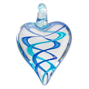 focal, lampworked glass, blue / dark blue / clear, 44x30mm double-sided heart with spiral design. sold individually.