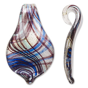 focal, lampworked glass, blue and clear, 59x35mm spoon with glass bail. sold individually.