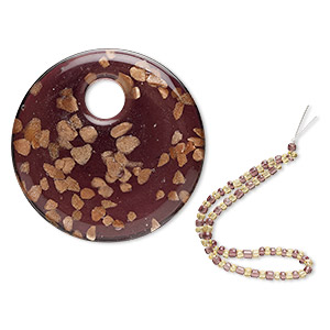 focal, lampworked glass, purple with copper-colored glitter, 49mm round go-go. sold individually.