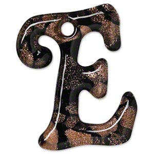 focal, lampworked glass, semitransparent black and clear with copper-colored glitter, 42x32mm single-sided letter e with 3.5-4.5mm hole. sold individually.