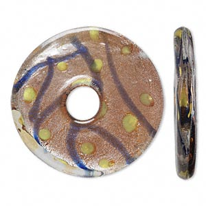 focal, lampworked glass, yellow / amber yellow / green / blue with lines and spots design and silver-colored foil, 34mm single-sided round donut. sold individually.