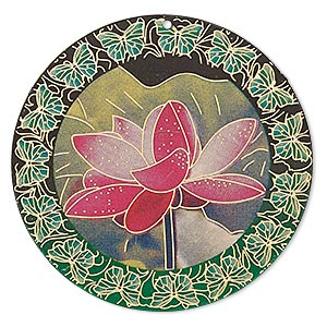 focal, lazer lace™, color film and gold-finished brass, multicolored, 47mm single-sided round with lotus flower and butterfly design. sold per pkg of 20.