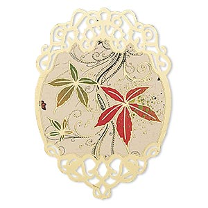 focal, lazer lace™, color film and gold-finished brass, multicolored, 50x35mm single-sided fancy oval with leaf and swirl design with cutouts. sold per pkg of 20.