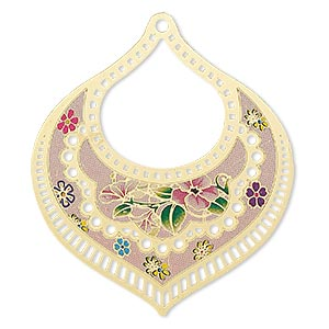 focal, lazer lace™, color film and gold-finished brass, multicolored, 55x47mm single-sided fancy teardrop with cutouts and floral design. sold per pkg of 20.