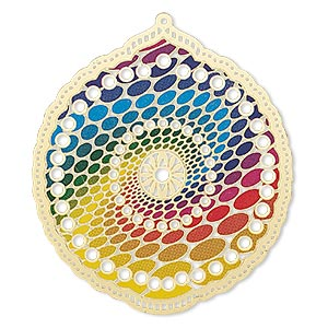focal, lazer lace™, color film and gold-finished brass, rainbow, 52x47mm single-sided scalloped round with cutouts and oval spiral design. sold per pkg of 2.