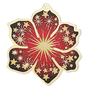 focal, lazer lace™, color film and gold-finished brass, red / yellow / black, 49x46mm single-sided flower with cutouts and star design. sold per pkg of 20.