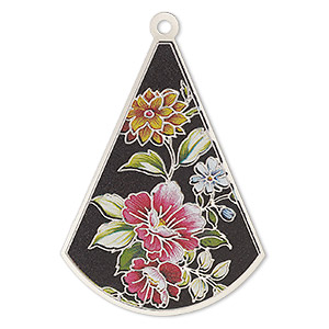 focal, lazer lace™, color film and silver-finished brass, multicolored, 48x35mm single-sided flat fan with cutouts and floral design. sold per pkg of 2.