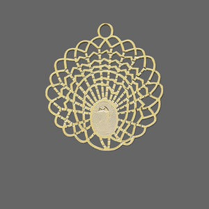 focal, lazer lace™, gold-finished brass, 30x29.5mm peacock. sold per pkg of 20.