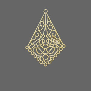 focal, lazer lace™, gold-finished brass, 31x22mm filigree kite, 14 loops. sold per pkg of 30.