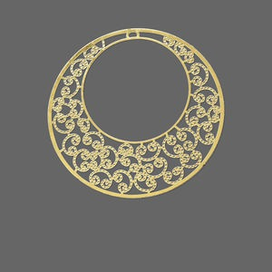 focal, lazer lace™, gold-finished brass, 48mm round go-go. sold per pkg of 6.