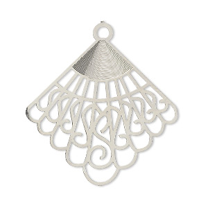 focal, lazer lace™, silver-plated brass, 32x31mm fancy fan. sold per pkg of 10.
