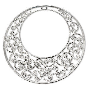 focal, lazer lace™, silver-plated brass, 48mm round go-go. sold per pkg of 6.