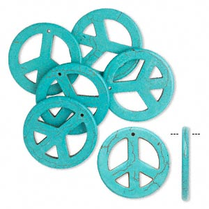 focal, magnesite (dyed / stabilized), blue, 34mm peace sign, b grade, mohs hardness 3-1/2 to 4. sold per pkg of 6.