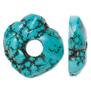 focal, magnesite (dyed / stabilized), dark blue-green, 38mm freeform donut with 10mm hole, b grade, mohs hardness 3-1/2 to 4. sold individually.
