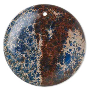 focal, magnesite (dyed / stabilized), lapis blue, 40mm hand-cut round with flat back, c grade, mohs hardness 3-1/2 to 4. sold individually.